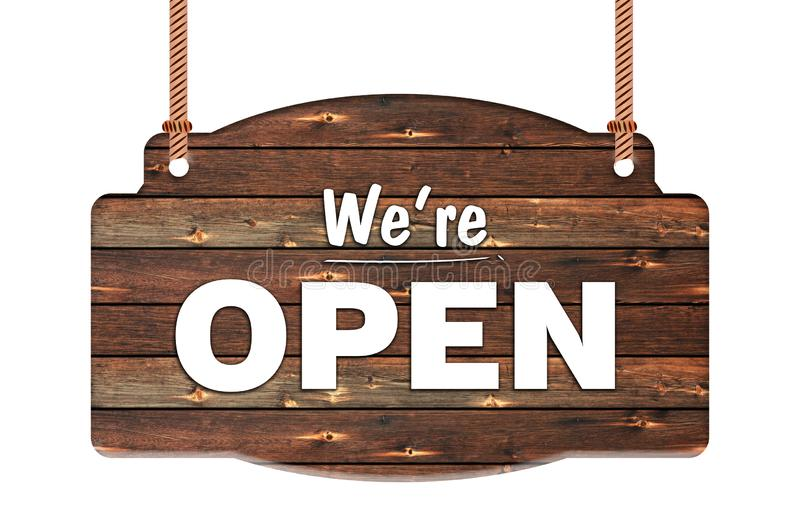 Text of we`re open in Rope wooden hanging sign stock photo