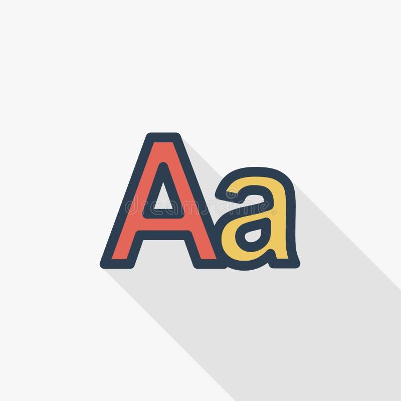 Text redigieren, Sprache, sortieren dünne Linie flache Farbikone Lineares Vektorsymbol Buntes langes Schattendesign vektor abbildung