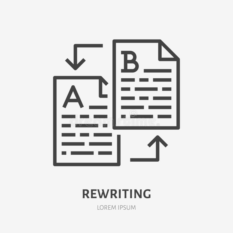 Text rewriting flat line icon. Translation, illustration of article spellchecking. Thin sign of documents editing. Copywriter logo vector illustration