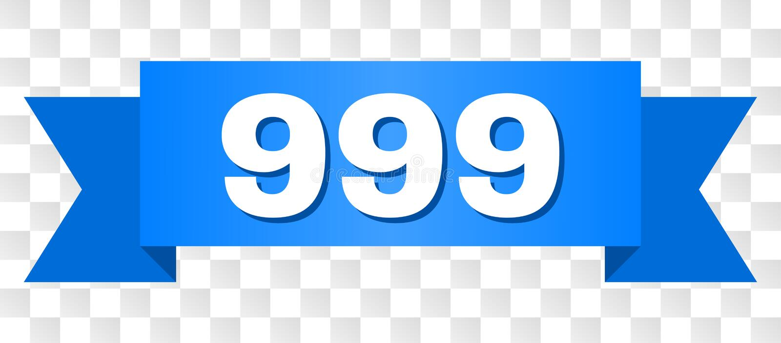 Blue Stripe with 999 Title. 999 text on a ribbon. Designed with white caption and blue stripe. Vector banner with 999 tag on a transparent background vector illustration