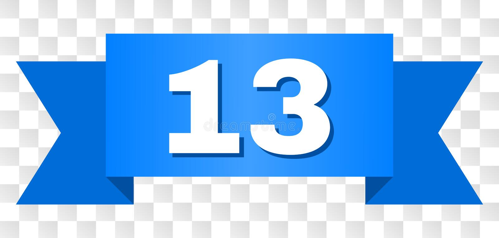 Blue Stripe with 13 Title. 13 text on a ribbon. Designed with white caption and blue stripe. Vector banner with 13 tag on a transparent background vector illustration
