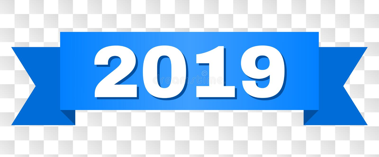 Blue Ribbon with 2019 Text. 2019 text on a ribbon. Designed with white caption and blue tape. Vector banner with 2019 tag on a transparent background royalty free illustration