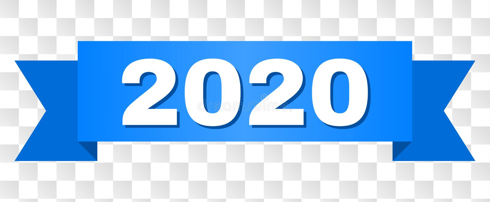 Blue Tape with 2020 Title. 2020 text on a ribbon. Designed with white caption and blue tape. Vector banner with 2020 tag on a transparent background vector illustration
