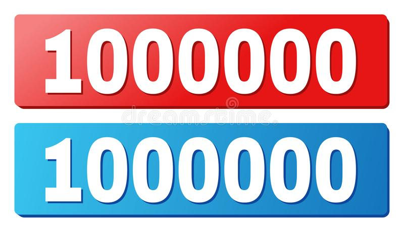 1000000 Caption on Blue and Red Rectangle Buttons. 1000000 text on rounded rectangle buttons. Designed with white caption with shadow and blue and red button vector illustration