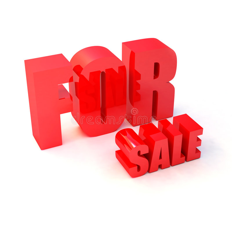 Text FOR sale. Isolated 3d red text FOR sale vector illustration