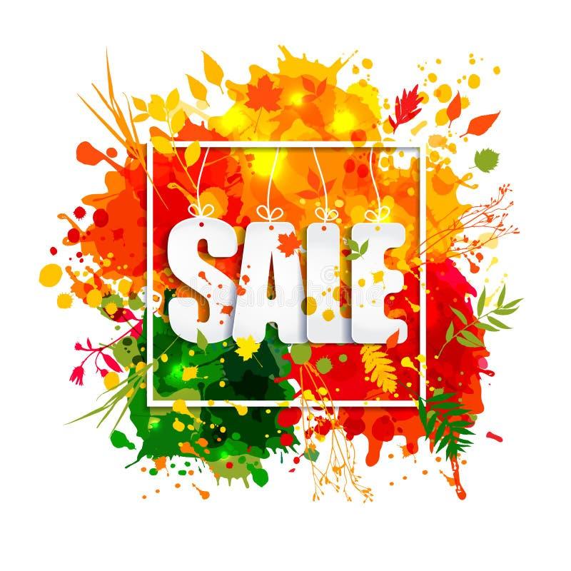 Text Sale i ram i pappers- stil på flerfärgad fläckbakgrund royaltyfri illustrationer