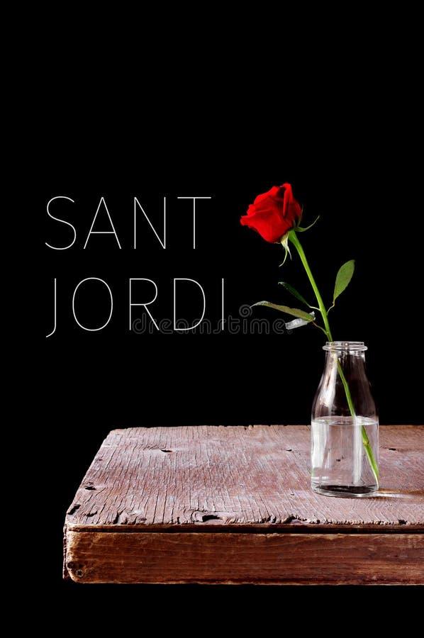 Text Sant Jordi, nome Catalan para Saint George Day fotografia de stock royalty free