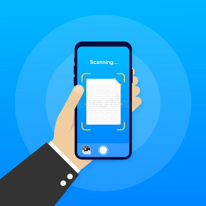 Text scan. Document scanner smartphone interface vector template. Mobile app page blue gradient design layout. Vector stock. Text scan. Document scanner royalty free illustration
