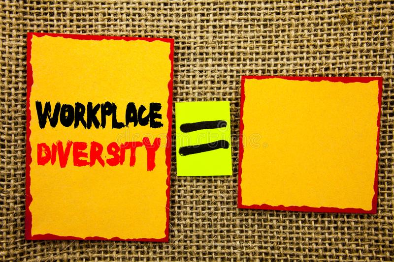 Text showing Workplace Diversity. Business photo showcasing Corporate Culture Global Concept For Disability written on Sticky note. Text showing Workplace royalty free stock image