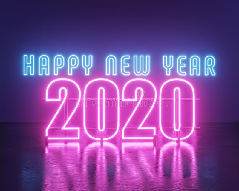 2020 text sign in neon lights. 3d rendering royalty free illustration