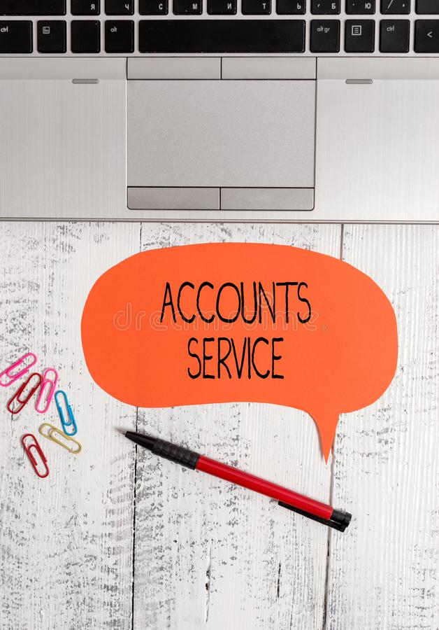Text sign showing Accounts Service. Conceptual photo accessing list of user profiles and information linked Open laptop. Text sign showing Accounts Service royalty free stock photography