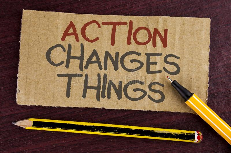 Text sign showing Action Changes Things. Conceptual photo doing something is like chain Improve Reflects written on Cardboard Piec. Text sign showing Action royalty free stock photo