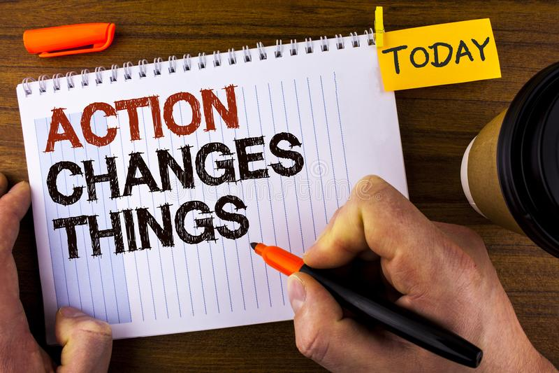 Text sign showing Action Changes Things. Conceptual photo doing something is like chain Improve Reflects written by Man on Notepad. Text sign showing Action stock images