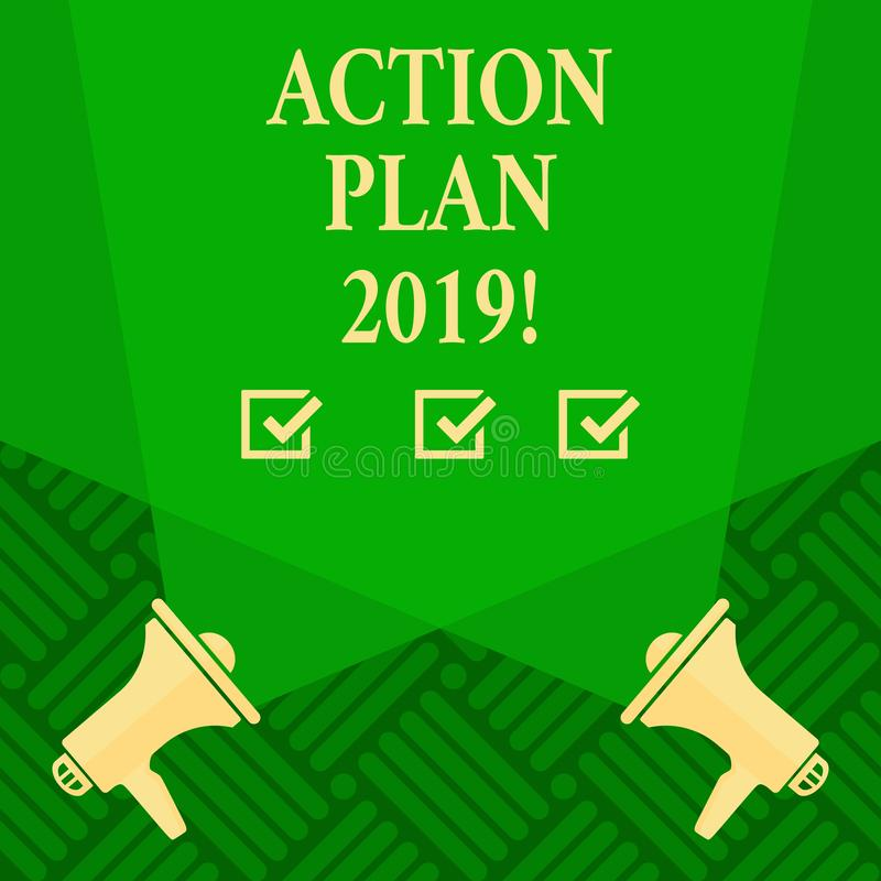 Text sign showing Action Plan 2019. Conceptual photo Challenge Ideas Goals for New Year Motivation to Start. Text sign showing Action Plan 2019. Business photo stock illustration