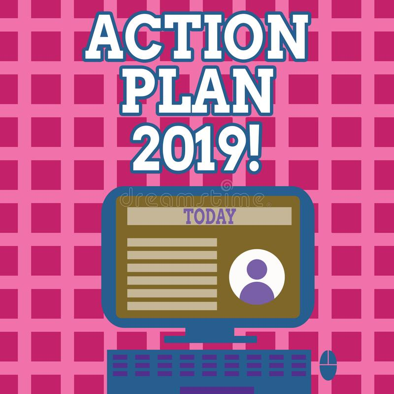 Text sign showing Action Plan 2019. Conceptual photo Challenge Ideas Goals for New Year Motivation to Start. Text sign showing Action Plan 2019. Business photo vector illustration
