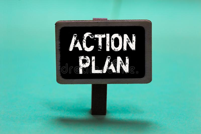 Text sign showing Action Plan. Conceptual photo list of things or schedule to be made thia current year Blackboard green backgroun. D important message ideas stock photography