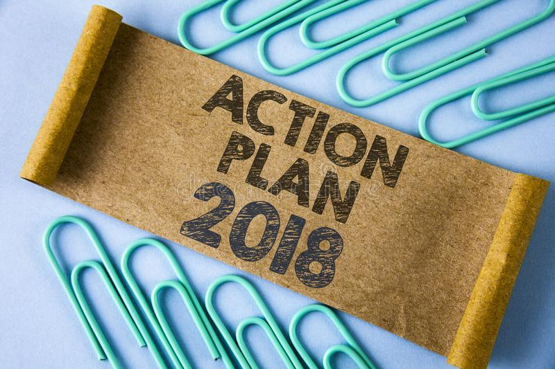 Text sign showing Action Plan 2018. Conceptual photo to do list in new year New year resolution goals Targets written on Folded Ca. Text sign showing Action Plan stock photography