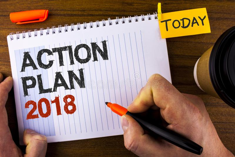 Text sign showing Action Plan 2018. Conceptual photo to do list in new year New year resolution goals Targets written by Man on No. Text sign showing Action Plan stock images