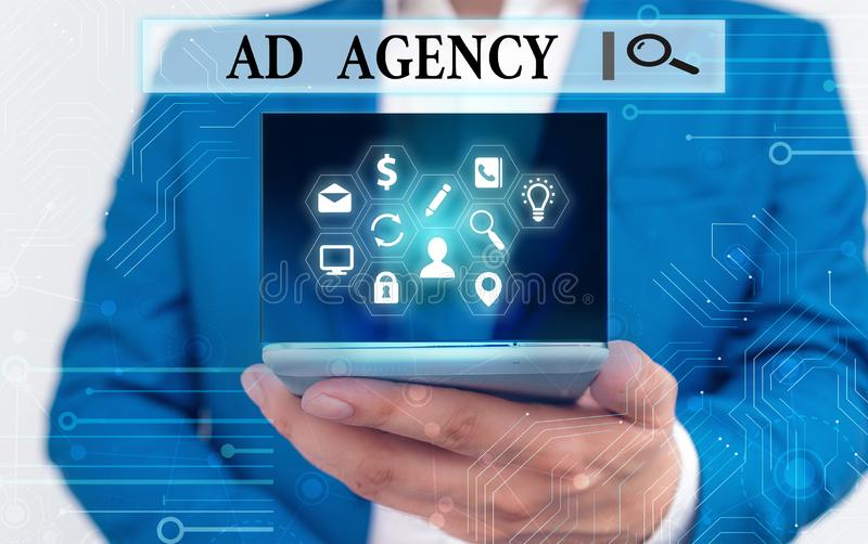 Text sign showing Ad Agency. Conceptual photo business dedicated to creating planning and handling advertising. royalty free stock photos
