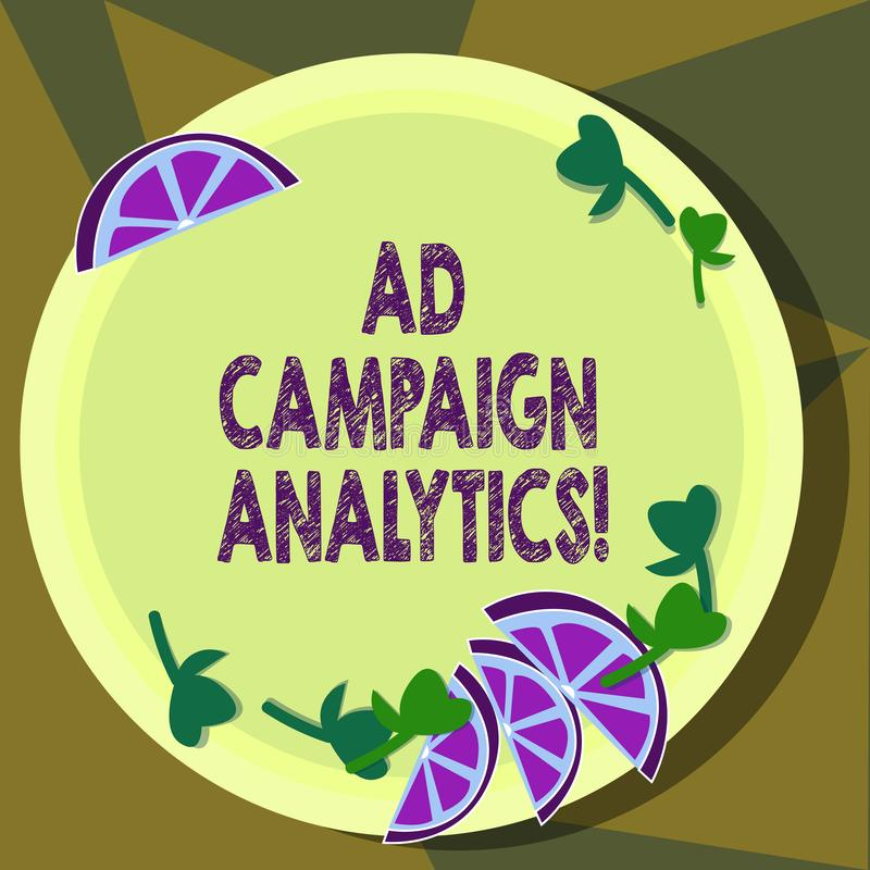 Text sign showing Ad Campaign Analytics. Conceptual photo monitor campaigns and their respective outcomes Cutouts of. Sliced Lime Wedge and Herb Leaves on Blank vector illustration