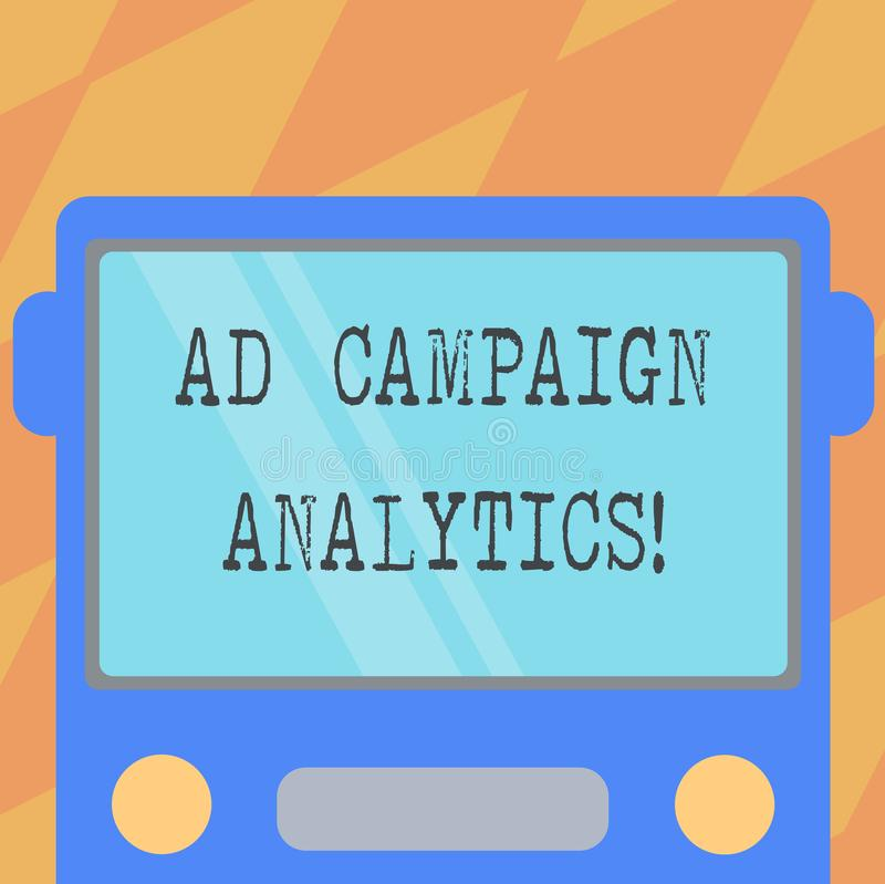 Text sign showing Ad Campaign Analytics. Conceptual photo monitor campaigns and their respective outcomes Drawn Flat. Front View of Bus with Blank Color Window vector illustration