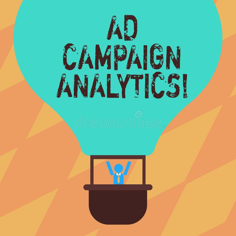 Text sign showing Ad Campaign Analytics. Conceptual photo monitor campaigns and their respective outcomes Hu analysis. Dummy Arms Raising inside Gondola Riding royalty free illustration