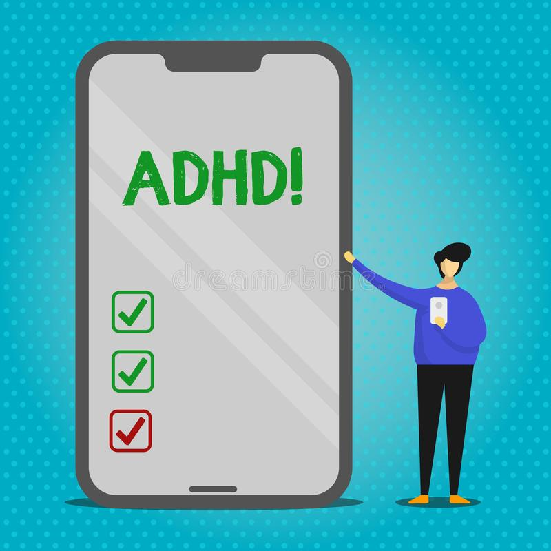 Text sign showing Adhd. Conceptual photo Learning made easier for children teaching no more a difficult task Man vector illustration