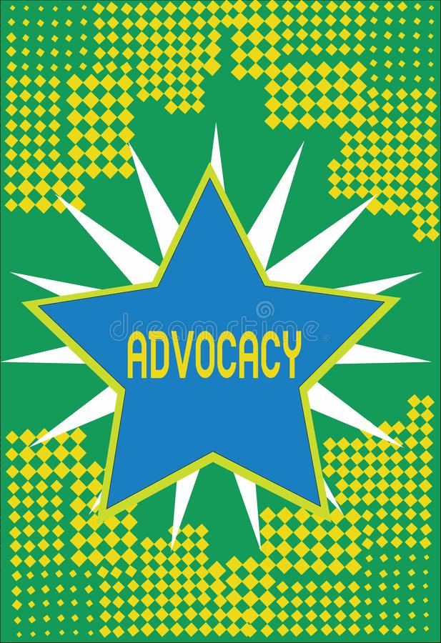 Text sign showing Advocacy. Conceptual photo Profession of legal advocate Lawyer work Public recommendation.  royalty free illustration