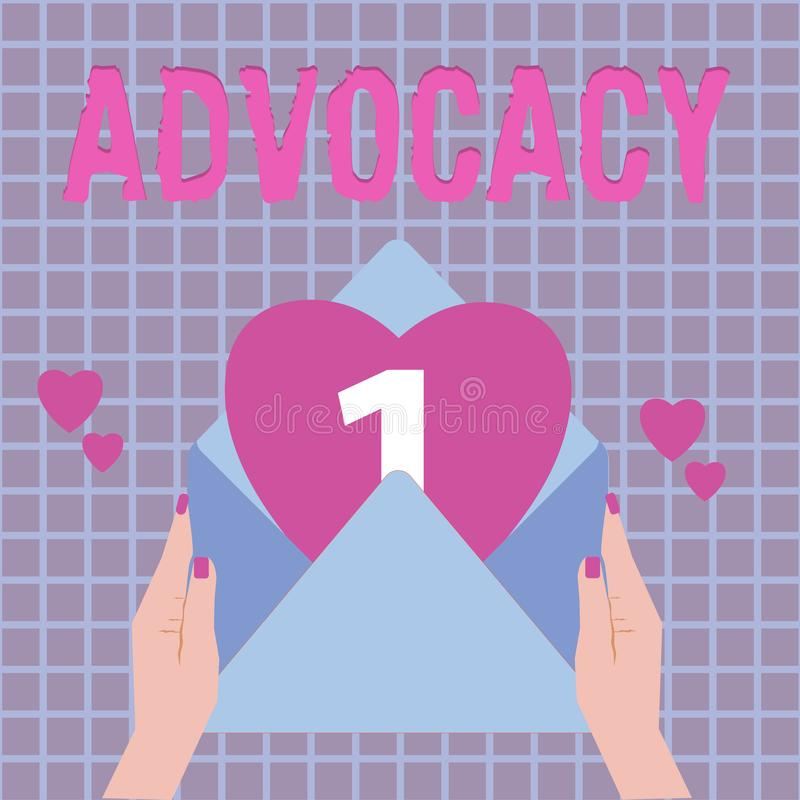 Text sign showing Advocacy. Conceptual photo Profession of legal advocate Lawyer work Public recommendation.  vector illustration