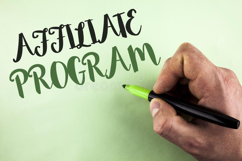 Text sign showing Affiliate Program. Conceptual photo software link songs apps books and sell them to earn money written by Man ho. Lding Marker in Hand plain royalty free stock photo