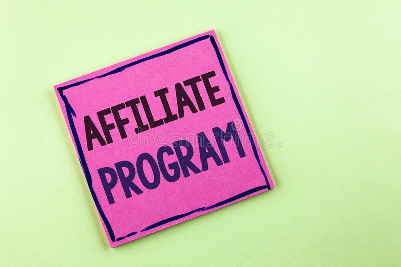Text sign showing Affiliate Program. Conceptual photo software link songs apps books and sell them to earn money written on Pink S. Text sign showing Affiliate royalty free stock image
