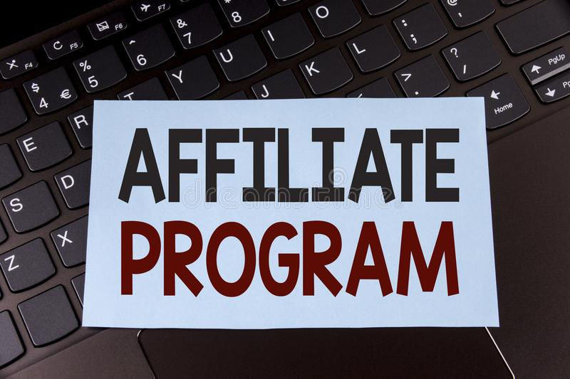 Text sign showing Affiliate Program. Conceptual photo software link songs apps books and sell them to earn money written on Sticky. Text sign showing Affiliate royalty free stock image