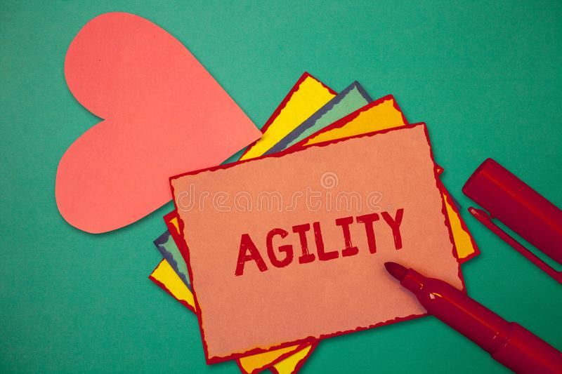 Text sign showing Agility. Conceptual photo Ability to move think understand quickly and easily Fast development.  stock photo