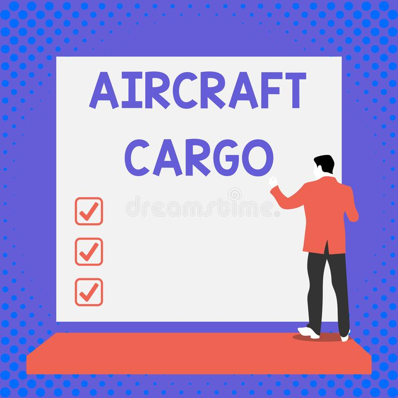 Text sign showing Aircraft Cargo. Conceptual photo Freight Carrier Airmail Transport goods through airplane Back view. Text sign showing Aircraft Cargo. Business vector illustration