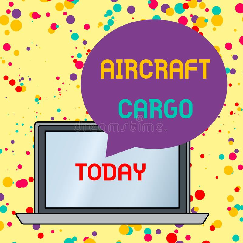 Text sign showing Aircraft Cargo. Conceptual photo Freight Carrier Airmail Transport goods through airplane Round Shape. Text sign showing Aircraft Cargo vector illustration