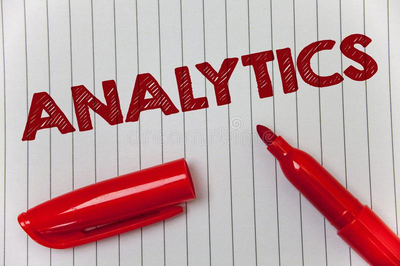 Text sign showing Analytics. Conceptual photo Data Analysis Financial Information Statistics Report Dashboard Ideas message notebo. Ok paper open marker stock images