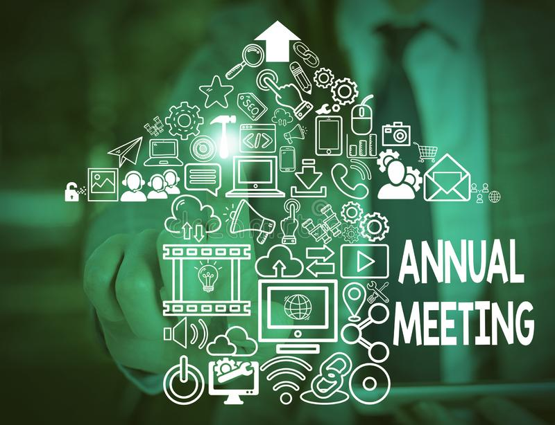 Text sign showing Annual Meeting. Conceptual photo yearly meeting of the general membership of an organization Woman. Text sign showing Annual Meeting. Business stock photography