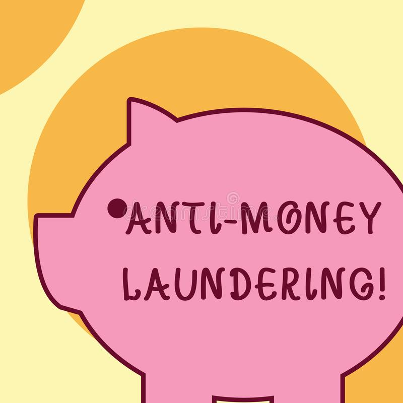 Text sign showing Anti Money Laundering. Conceptual photo regulations stop generating income through illegal actions. Text sign showing Anti Money Laundering stock illustration