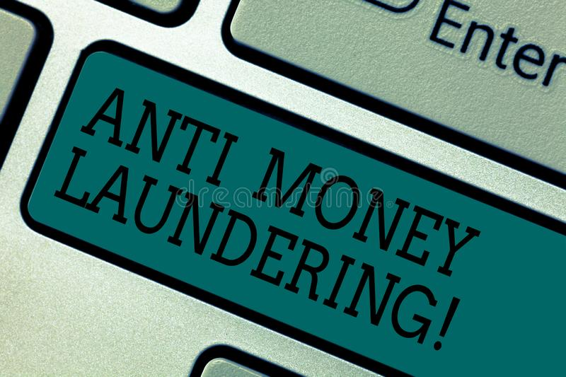 Text sign showing Anti Money Laundering. Conceptual photo entering projects to get away dirty money and clean it. Keyboard key Intention to create computer stock illustration