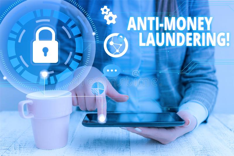 Text sign showing Anti Money Laundering. Conceptual photo regulations stop generating income through illegal actions. Text sign showing Anti Money Laundering royalty free stock photos