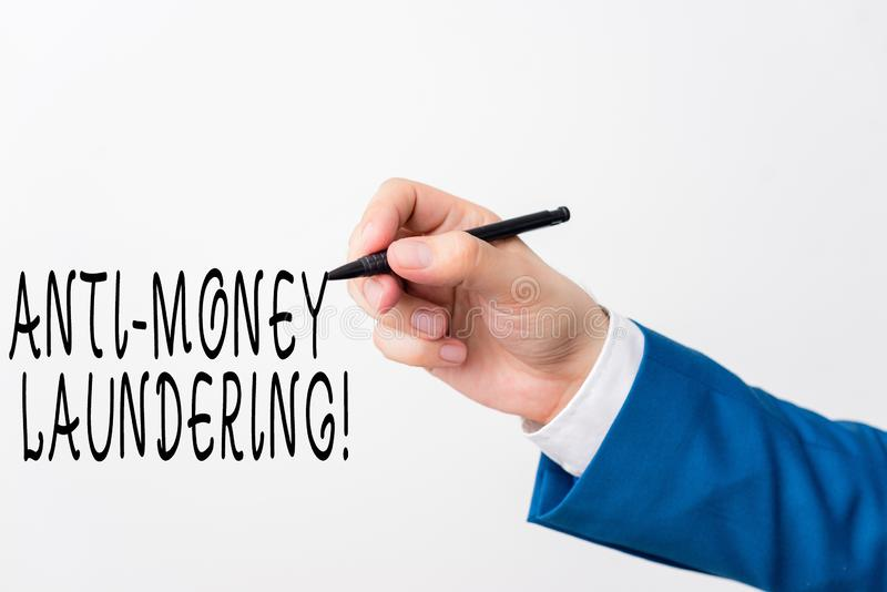 Text sign showing Anti Money Laundering. Conceptual photo regulations stop generating income through illegal actions. Text sign showing Anti Money Laundering royalty free stock photography