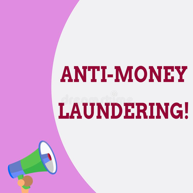 Text sign showing Anti Money Laundering. Conceptual photo regulations stop generating income through illegal actions. Text sign showing Anti Money Laundering vector illustration