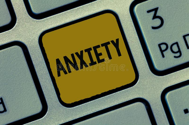 Text sign showing Anxiety. Conceptual photo Excessive uneasiness and apprehension Panic attack syndrome.  royalty free stock images