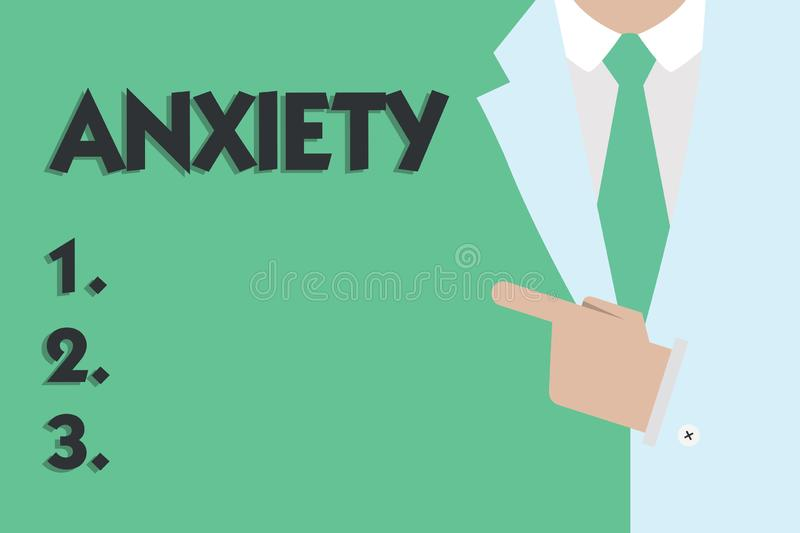 Text sign showing Anxiety. Conceptual photo Excessive uneasiness and apprehension Panic attack syndrome.  royalty free stock photography