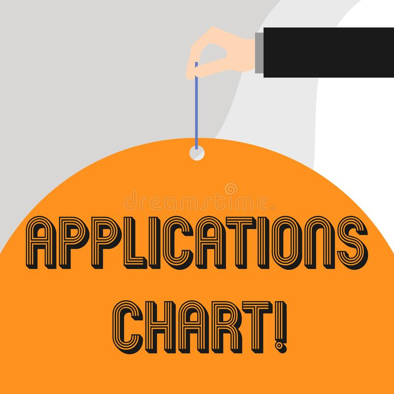 Text sign showing Applications Chart. Conceptual photo graph used to study how a process changes over time. Text sign showing Applications Chart. Business photo royalty free illustration