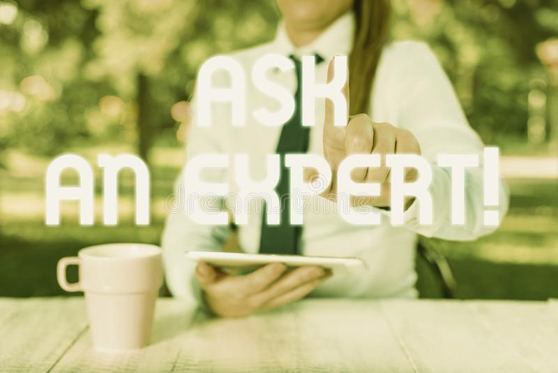 Text sign showing Ask An Expert. Conceptual photo confirmation that have read understand and agree with guidelines stock photo