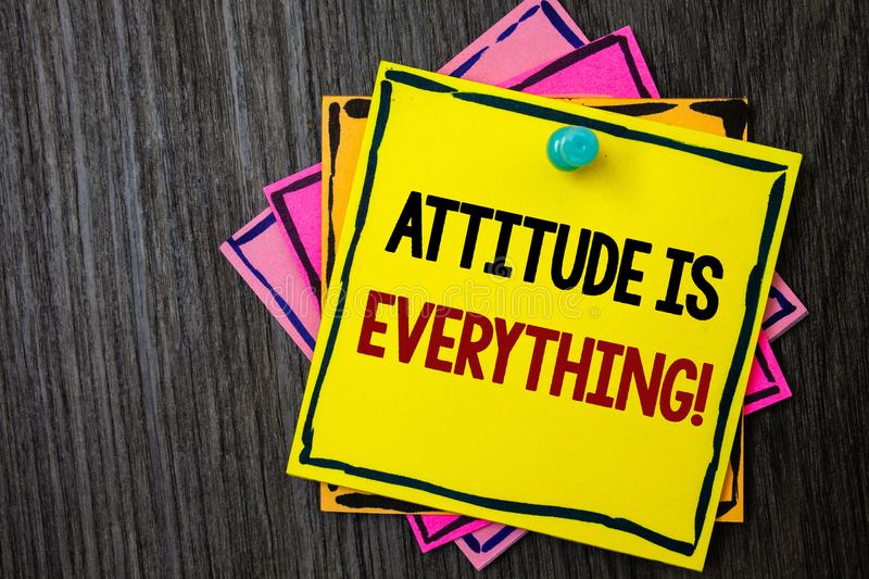 Text sign showing Attitude Is Everything. Conceptual photo Personal Outlook Perspective Orientation Behavior Wooden background ide. As messages intentions royalty free stock image