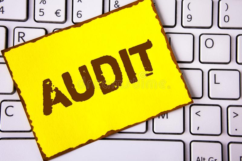 Text sign showing Audit. Conceptual photo Local company auditors perform their financial investigation annually written on Yellow. Text sign showing Audit royalty free stock photography
