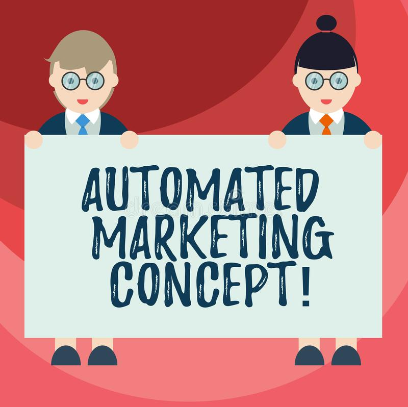Text sign showing Automated Marketing Concept. Conceptual photo automate repetitive tasks such as emails Male and Female in vector illustration