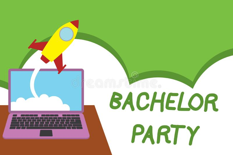 Text sign showing Bachelor Party. Conceptual photo Party given for a analysis who is about to get married Stag night vector illustration